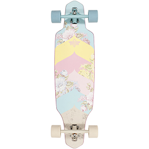 Dusters Wake Bloom Complete Longboard Blue/Off White 34.0