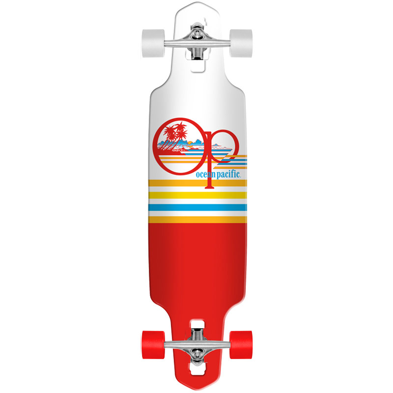 Ocean Pacific Offshore White/Red Mini Complete Drop Through Longboard 8.0 x 31.5