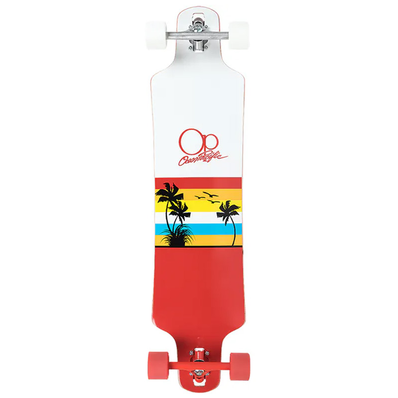 Ocean Pacific Sunset Double Drop Longboard White/Red 39.0