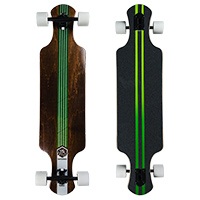 Saterno Forest Leaf Double Down Dark Complete Longboard  37.0