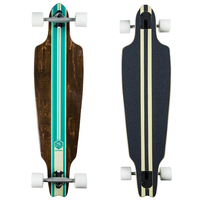 Saterno Mint Multi Stripe Complete Longboard 38.0