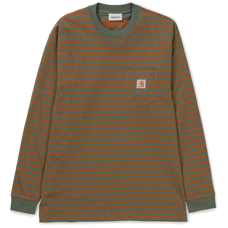 Carhartt Barkley Pocket Longsleeve T-Shirt Barkley Stripe Adventure/Hamilton Brown