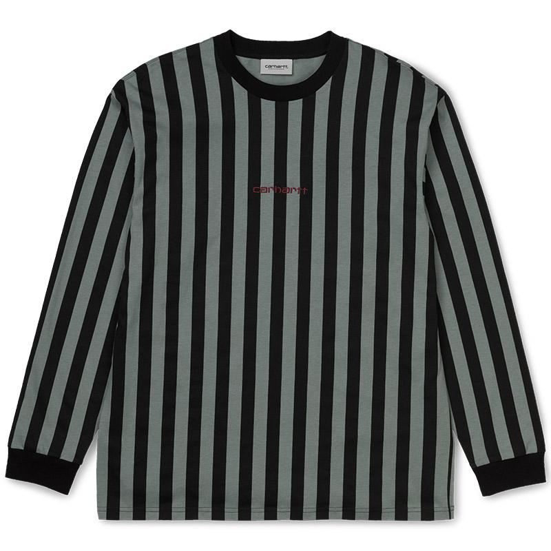Carhartt WIP Barnett Longsleeve T-Shirt Barnett Stripe Black/Cloudy/Merlot