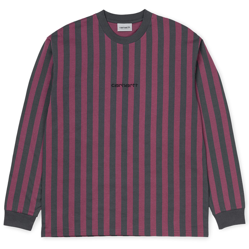 Carhartt WIP Barnett Longsleeve T-Shirt Barnett Stripe Blacksmith/Dusty Fuchsia/Black Stripe