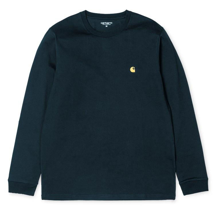 Carhartt Chase Longsleeve T-Shirt Dark Navy/Gold