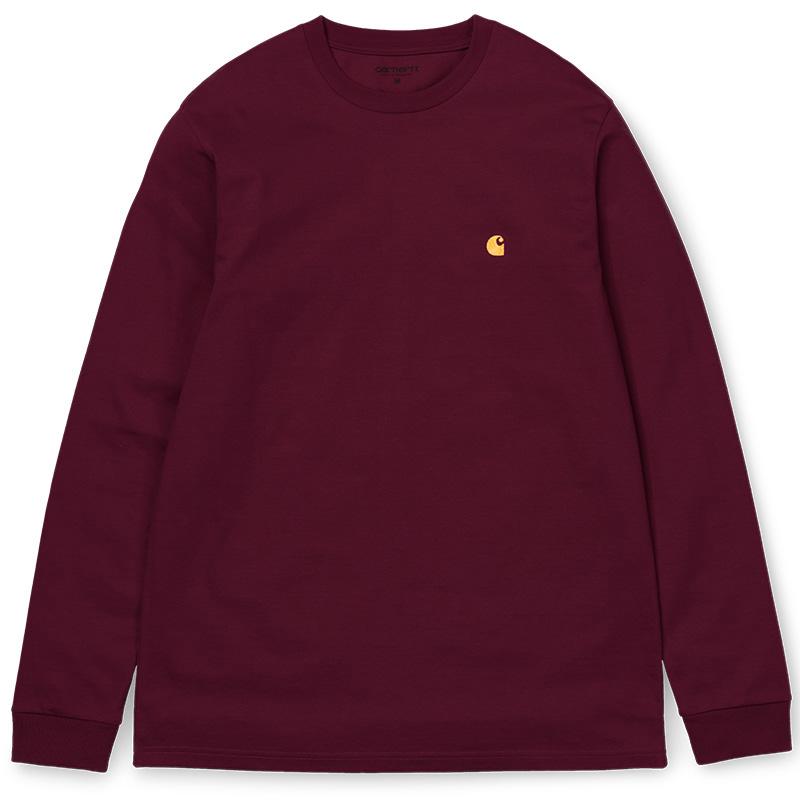 Carhartt WIP Chase Longsleeve T-Shirt Merlot/Gold