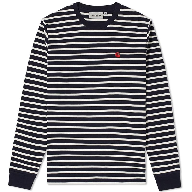Carhartt Robie Longsleeve T-Shirt Robie Stripe Dark Navy/Wax/Blast Red