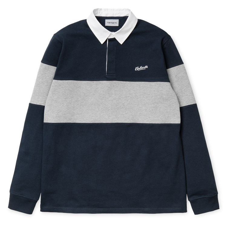 Carhartt Vintage Brush Rugby Longsleeve Polo Navy/White