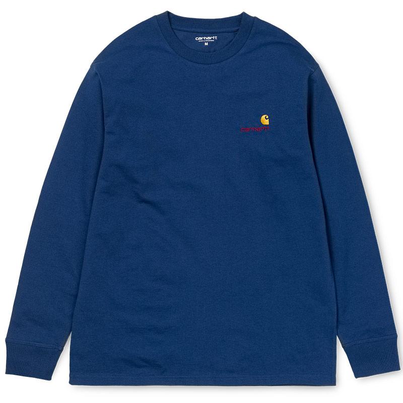 Carhartt WIP American Script Longsleeve T-Shirt Metro Blue