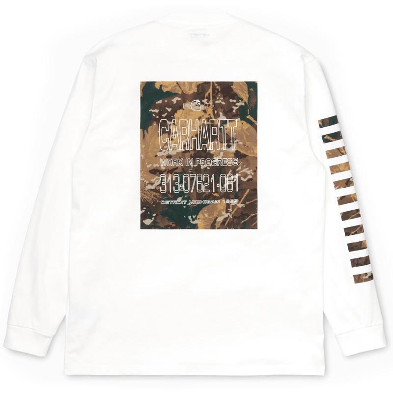 Carhartt WIP Camo Mil Longsleeve T-Shirt White