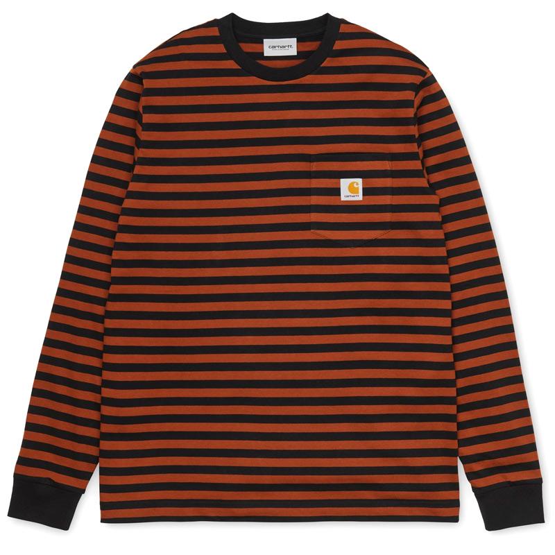 Carhartt WIP Parker Pocket Longsleeve T-Shirt Black/Brandy