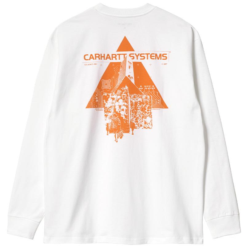 Carhartt WIP Pyramid Longsleeve T-Shirt White/Orange