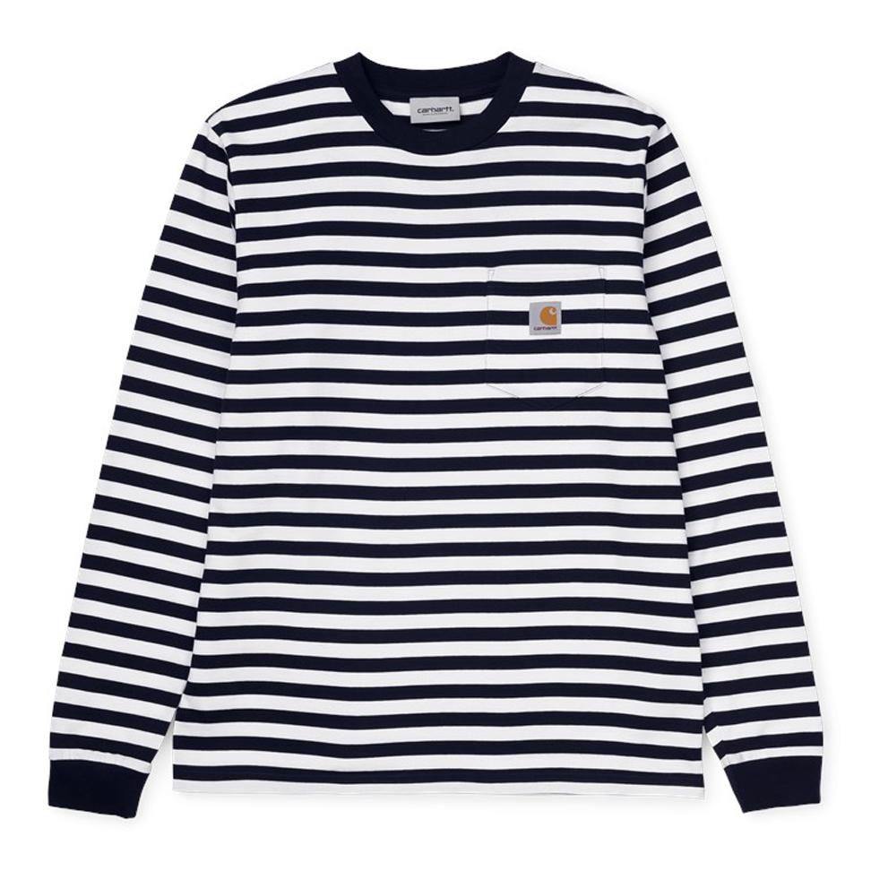 Carhartt WIP Scotty Pocket Longsleeve T-Shirt Scotty Stripe Dark Navy/White
