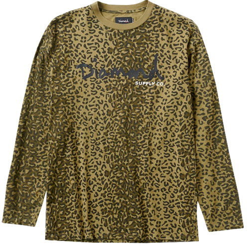 Diamond Cheetah Canvas Longsleeve T-Shirt Olive