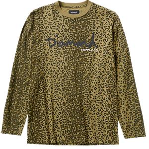 Diamond Cheetah Canvas Longsleeve T-Shirt Olive