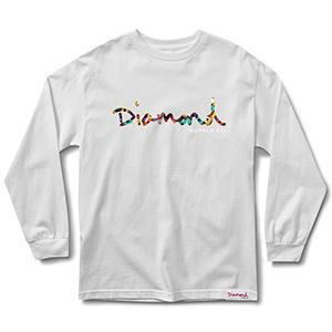 Diamond Og Script Fasten Longsleeve T-Shirt White