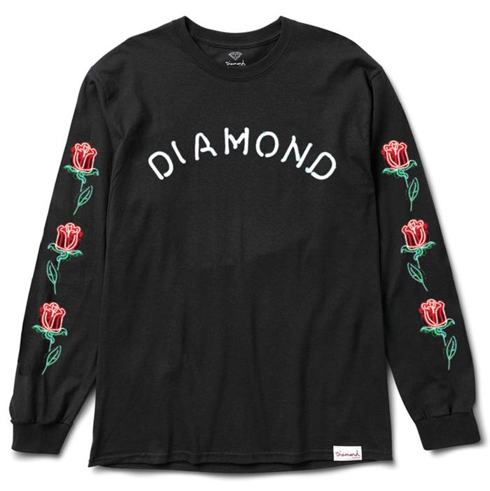 Diamond Rosette Longsleeve T-Shirt Black