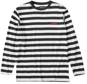 Diamond Striped Longsleeve T-Shirt Black/White