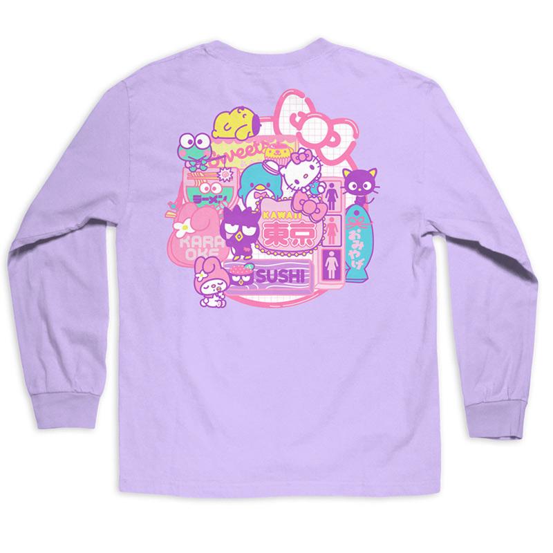 Girl Sanrio Restaurant Longsleeve T-Shirt Lavender