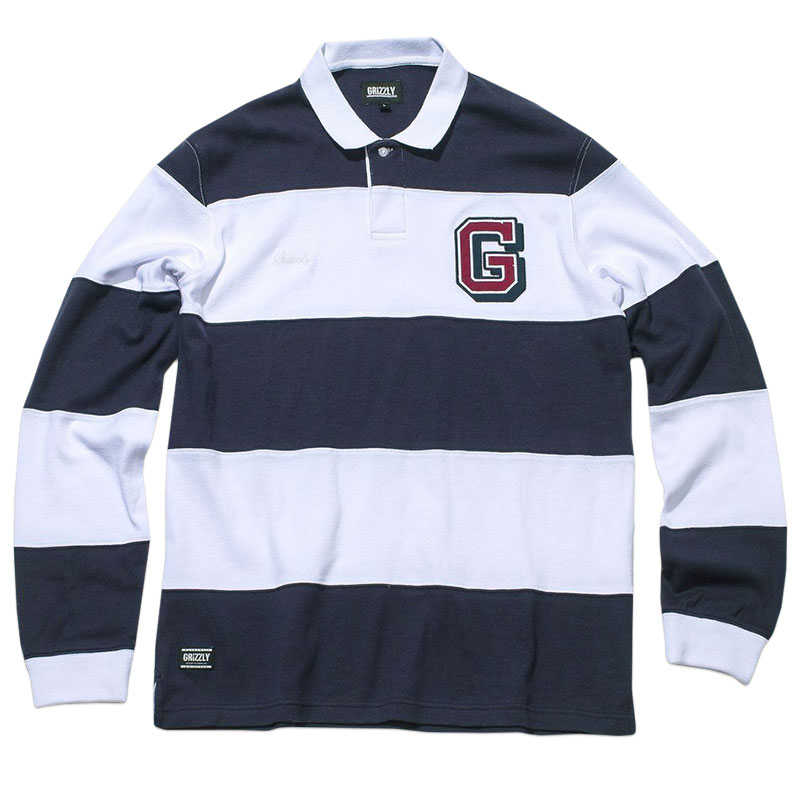 Grizzly Fairway Rugby Longsleeve Polo Navy