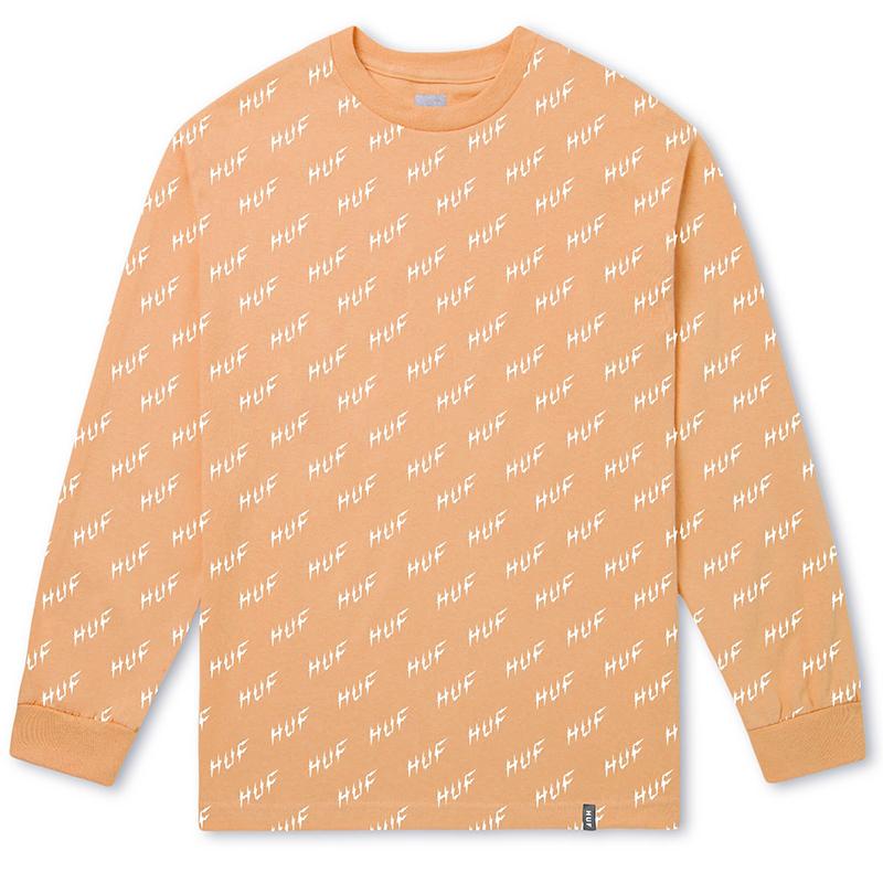 HUF Bolt All-Over Longsleeve T-Shirt Peach