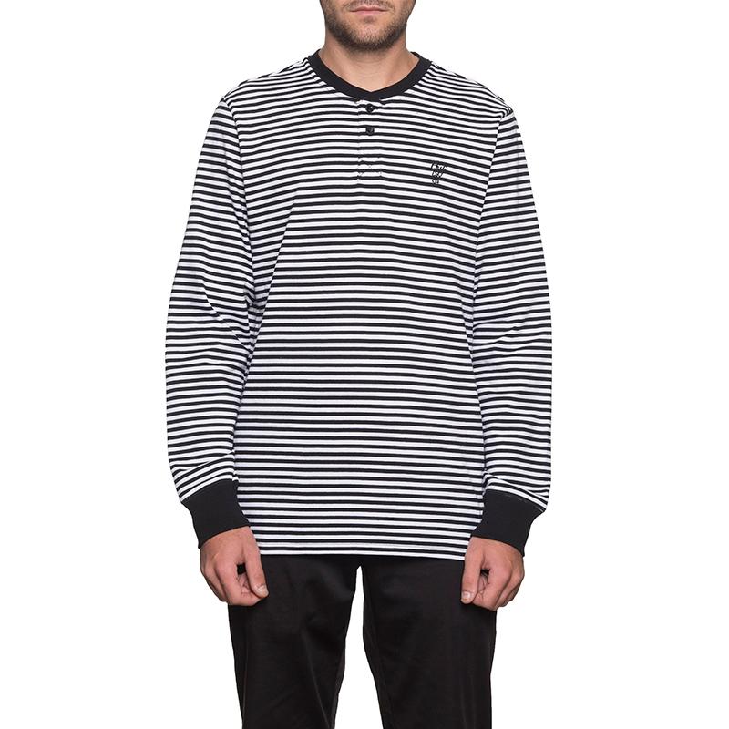 HUF Grayson Henley Longsleeve T-Shirt Black/White