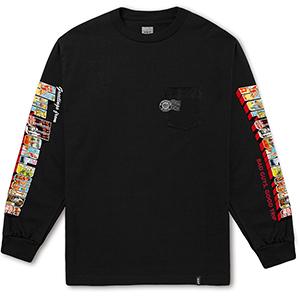 HUF Greetings Longsleeve Pocket T-Shirt Black