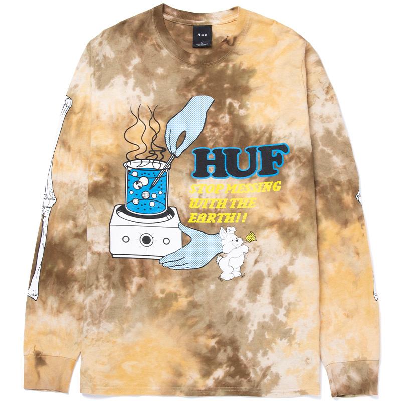 HUF Mess Tiedye Longsleeve T-Shirt Brown