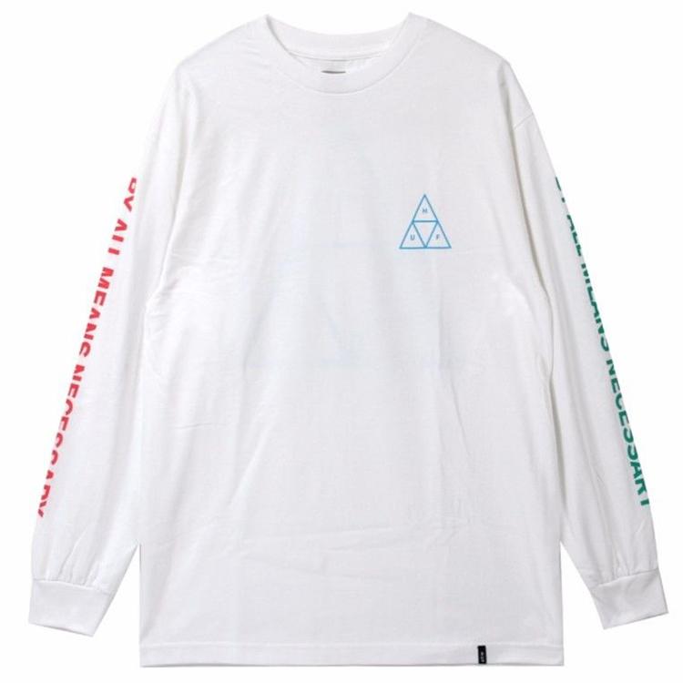 HUF Multi Triple Triangle Longsleeve T-Shirt White