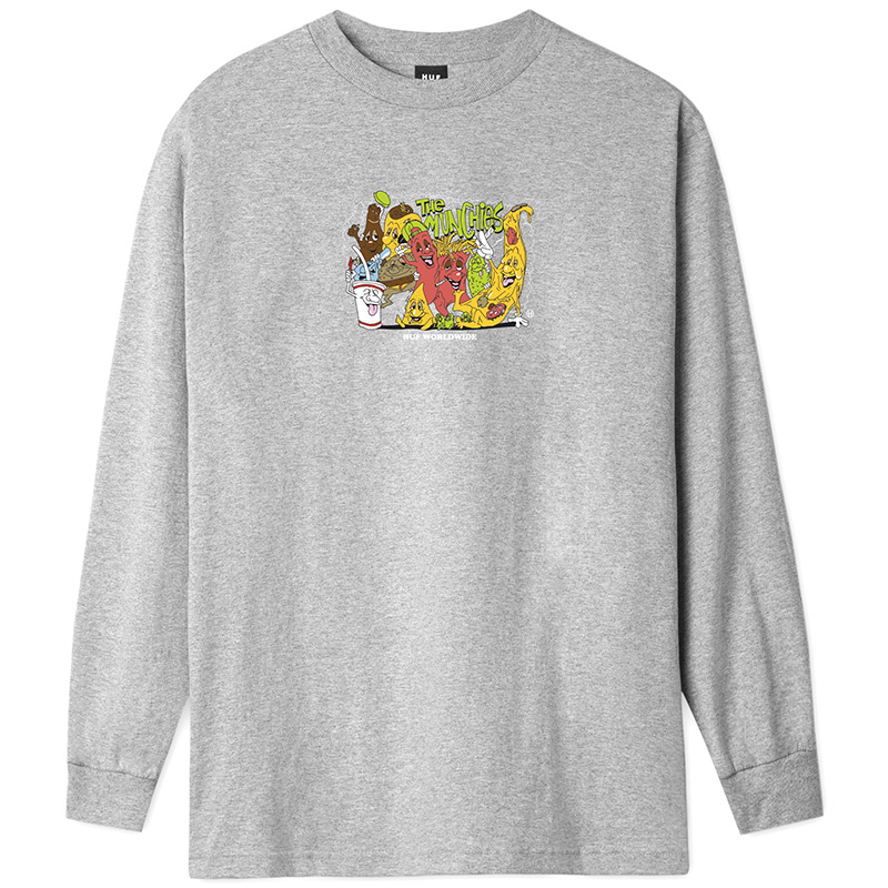 HUF The Munchies Longsleeve T-Shirt Grey Heather