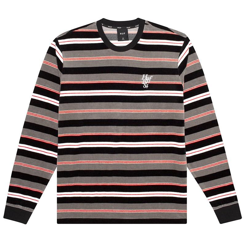 HUF Unveil Stripe Velour Shirt Black