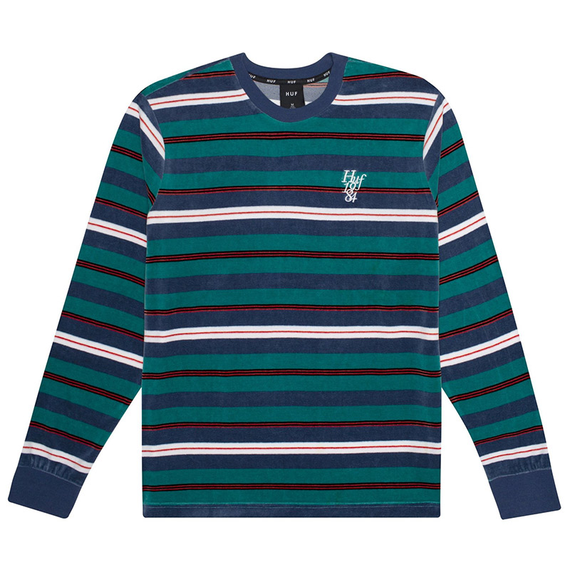 HUF Unveil Stripe Velour Shirt Quetzal Green