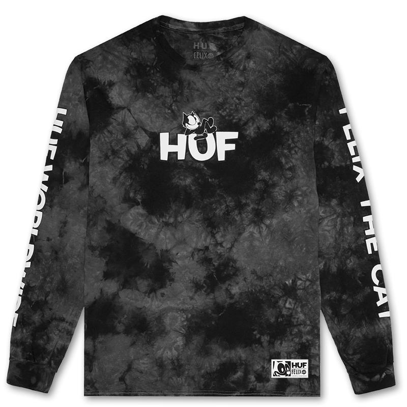 HUF X Felix The Cat Crystal Wash Longsleeve T-shirt Black