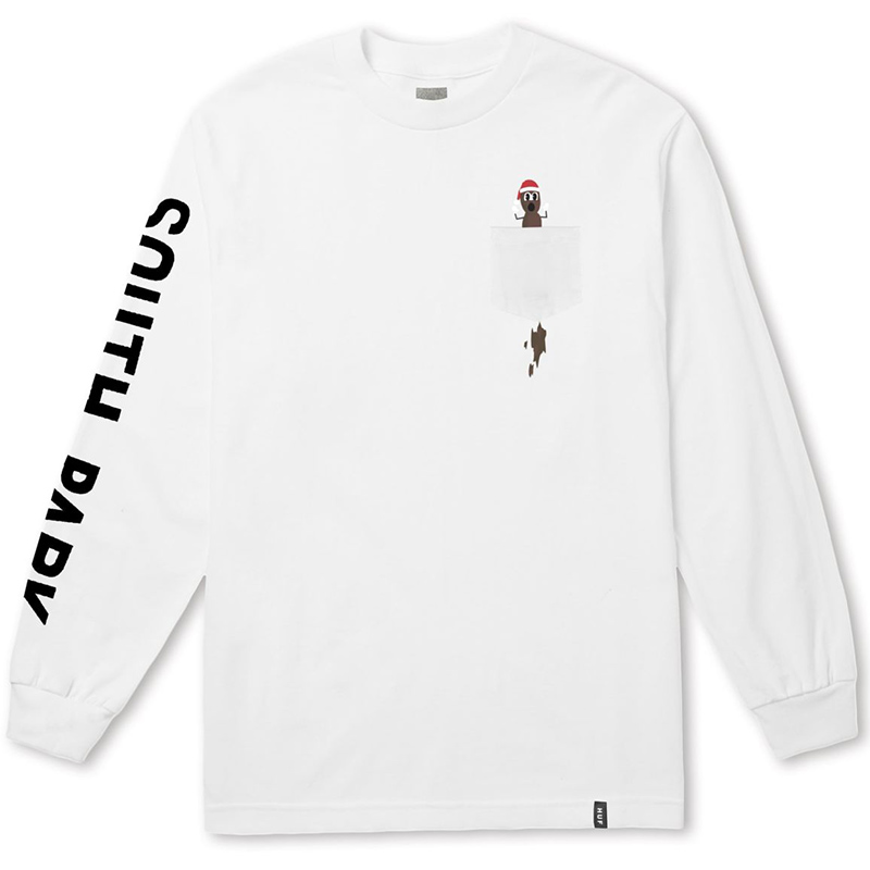 HUF X South Park Mr Hankey Pocket Longsleeve T-shirt White
