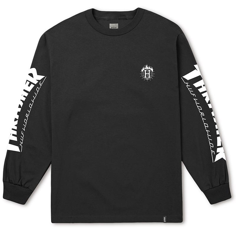 HUF X Thrasher Tds Longsleeve T-shirt Black