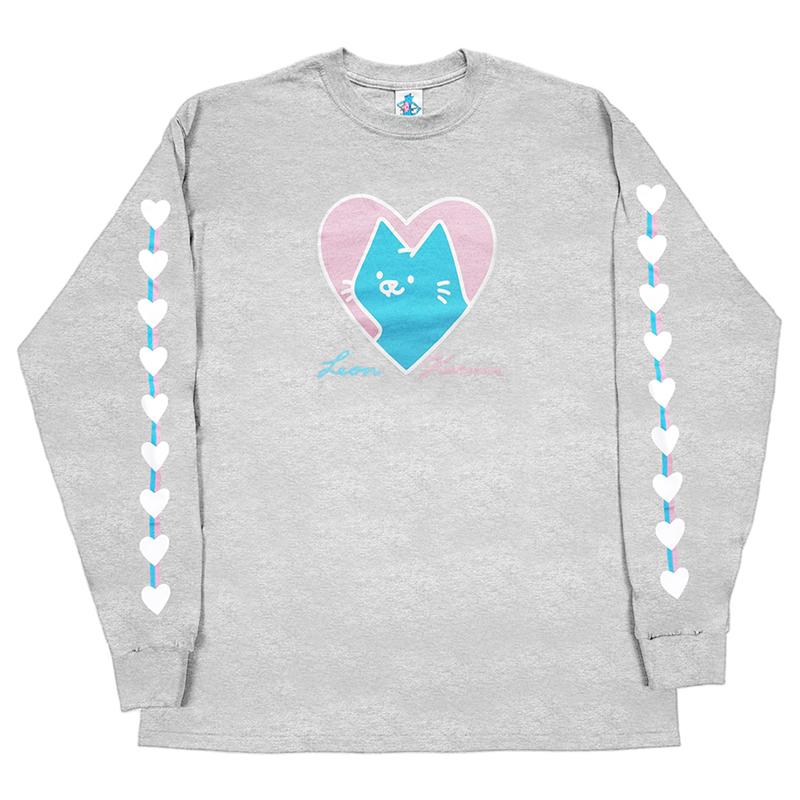 Leon Karssen Heart A Cat Longsleeve T-Shirt Heather Grey