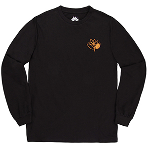 Magenta Plant Outline Longsleeve T-Shirt Black