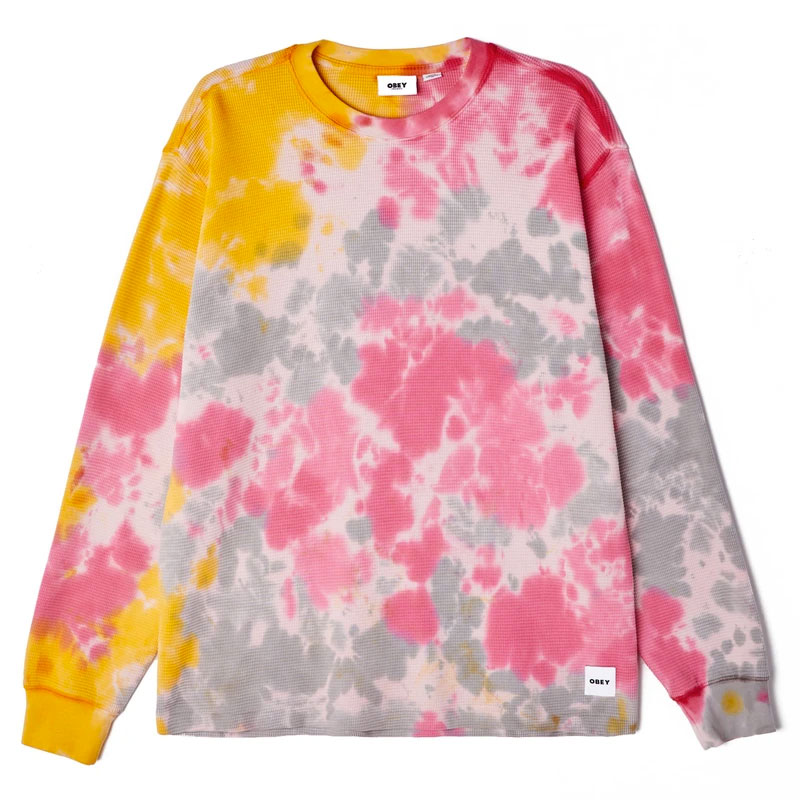 Obey Sustainable Tie Dye Thermal Longsleeve T-Shirt Yellow Multi
