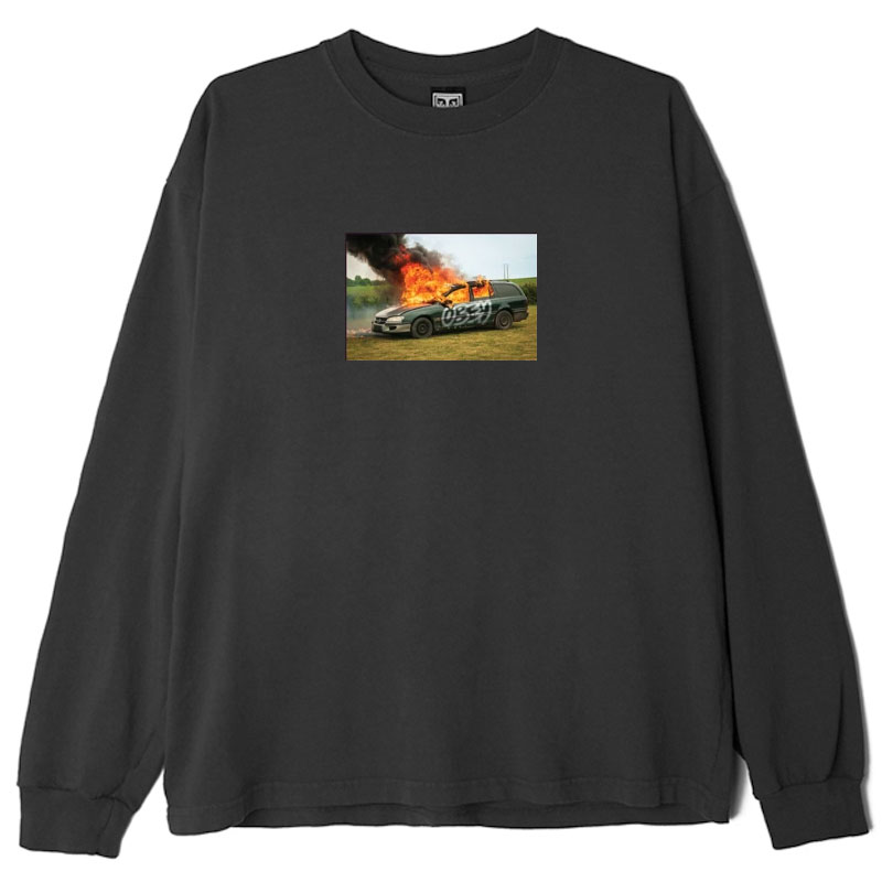Obey The Suburbs Longsleeve T-Shirt Off Black