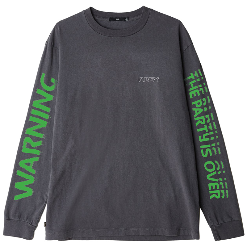 Obey Warning Longsleeve T-Shirt Dusty Black