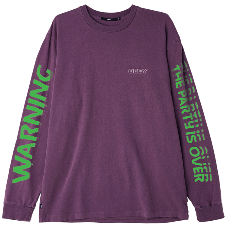 Obey Warning Longsleeve T-shirt Dusty Grape