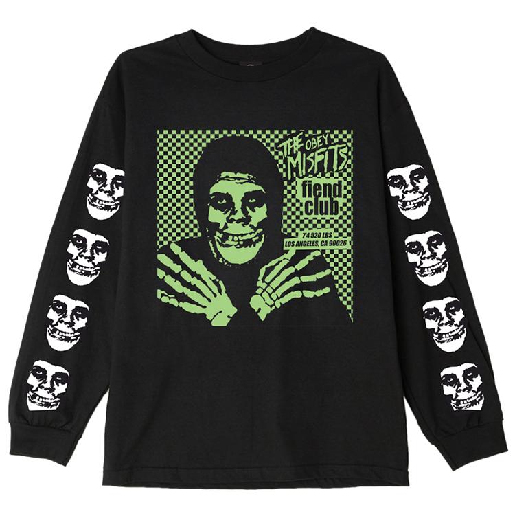 Obey X Misfits Fiend Club Hallow Longsleeve T-Shirt Black