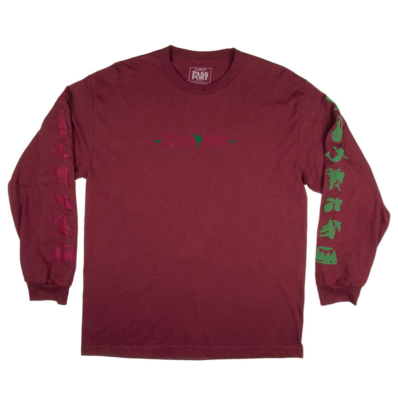 Pass-Port Life Of Leisure Embroidery Longsleeve T-Shirt Maroon
