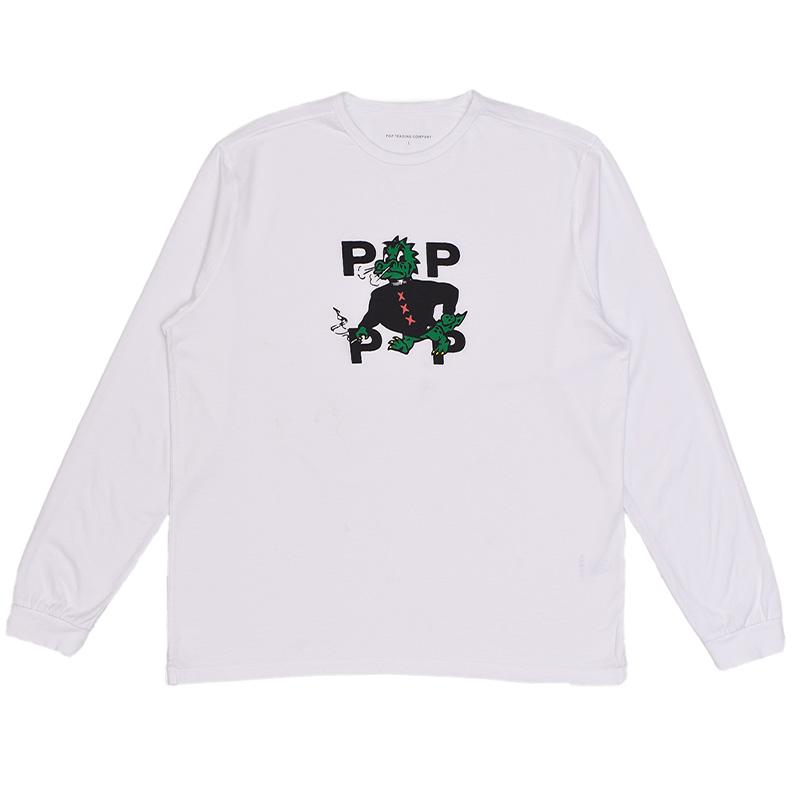 Pop Trading Company Smoking Dragon Longsleeve T-Shirt White