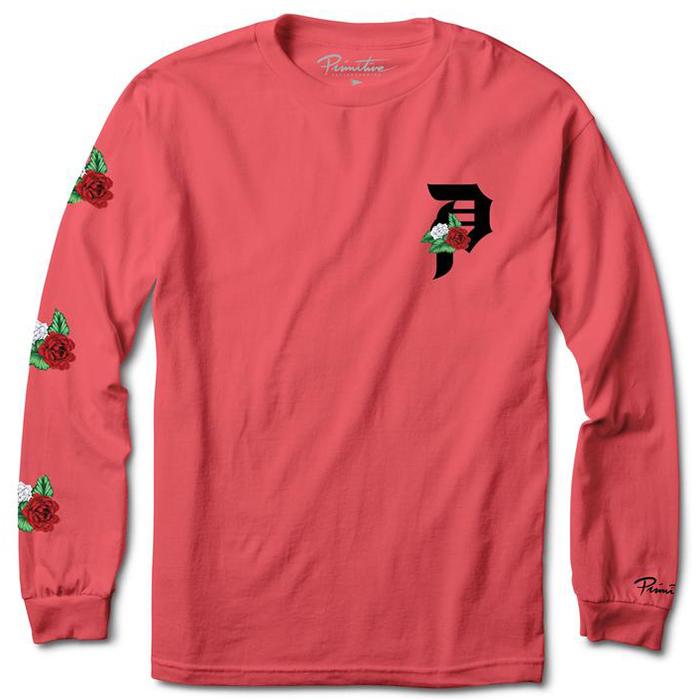 Primitive Dos Flores Over Dye Longsleeve T-Shirt Coral