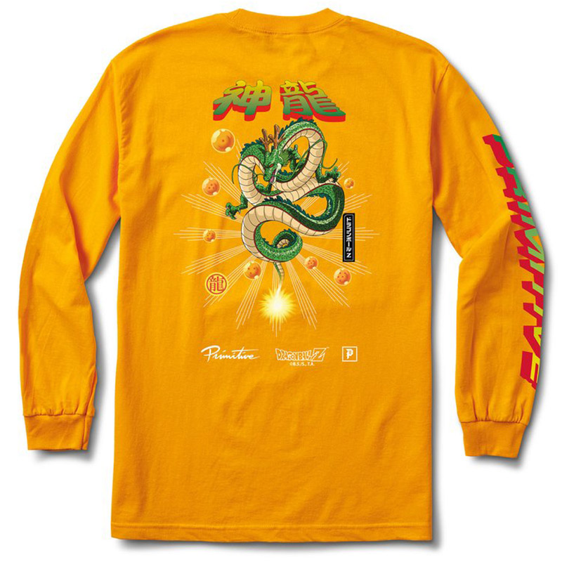 Primitive x DBZ Shenron Wish Longsleeve T-Shirt Gold