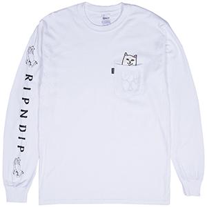 RIPNDIP Lord Nermal Pocket Longsleeve T-Shirt White