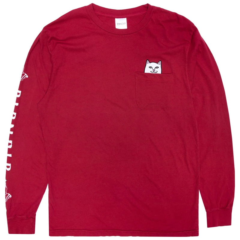 RIPNDIP Lord Nermal Pocket T-Shirt Longsleeve T-Shirt Burgundy