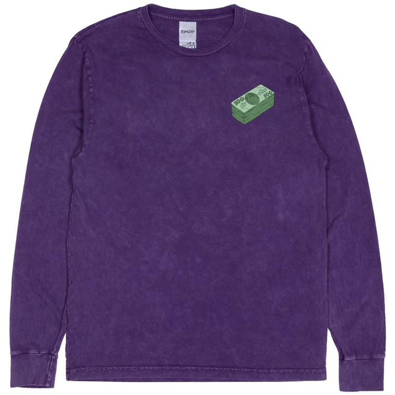 RIPNDIP Money Talks Longsleeve T-Shirt Purple Mineral Wash