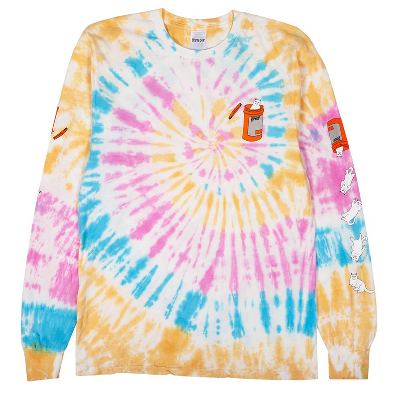 RIPNDIP Nermal Pills Longsleeve T-Shirt Gold Rainbow Wash